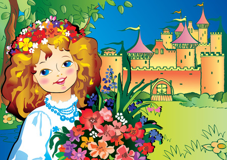 medieval woman: Beautiful girl with flowers. Vector art-illustration on landscape background. Illustration