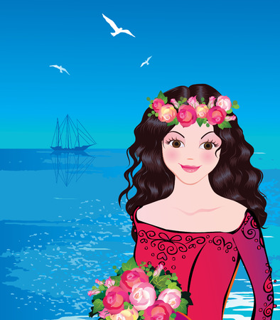 Beautiful princess against the sea background. Fairy-tale. illustration. Stock Vector - 7964781