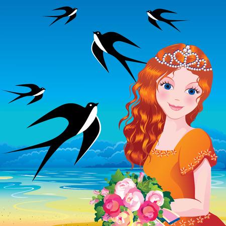 beautiful cinderella: Beautiful princess against the sea background. Fairy-tale. illustration.
