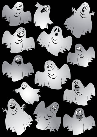 Ghosts. Halloween night. illustration on a black background. Illustration