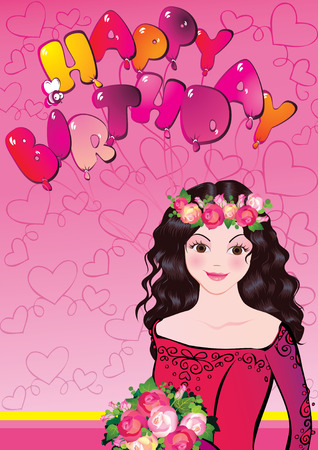 Beautiful girl with flowers. Happy birthday. illustration on a pink background. Vector