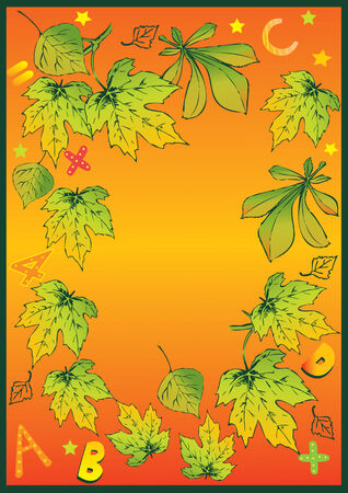 Beautiful frame of autumn leaves. Place for sample text. illustration. Vector