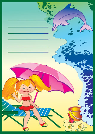Summer Kids Story. Place for your text. illustration. Vector
