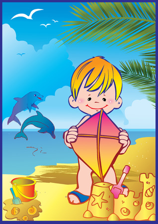 In holiday at the sea. Happy boy on the beach. illustration. Vector