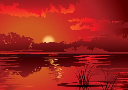 ascend: A beautiful sunset on the river.   art-illustration. Illustration