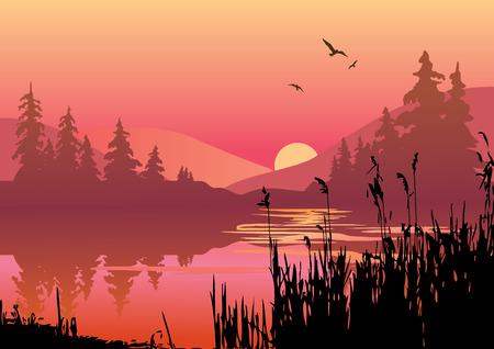 sunrise lake: Beautiful sunset on the river.  art-illustration.