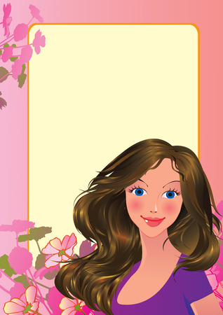 Beautiful girl. Place for your text. art-illustration.