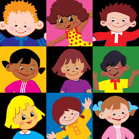 Portraits of the happy children of different nationalities.