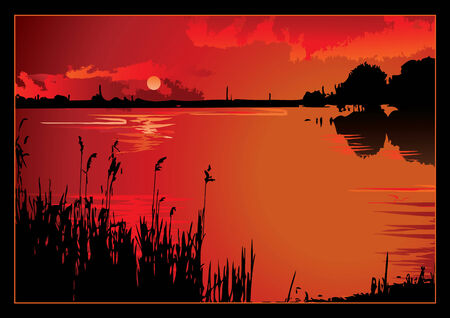 mere: A beautiful sunset on the river.