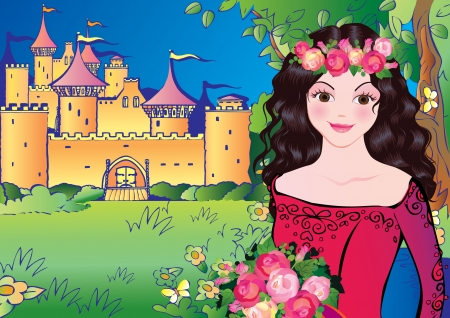 medieval woman: Beautiful princess on landscape background. Fairy-tale. Illustration