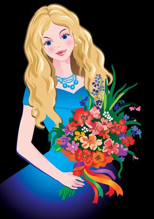 Preciosa niña con flores. arte-ilustración sobre un fondo negro.  Ilustración de vector