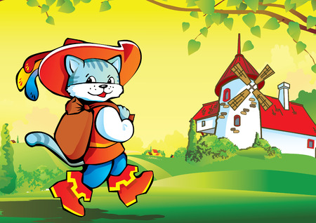 Puss in Boots on landscape background. Fairy-tale.  art-illustration.