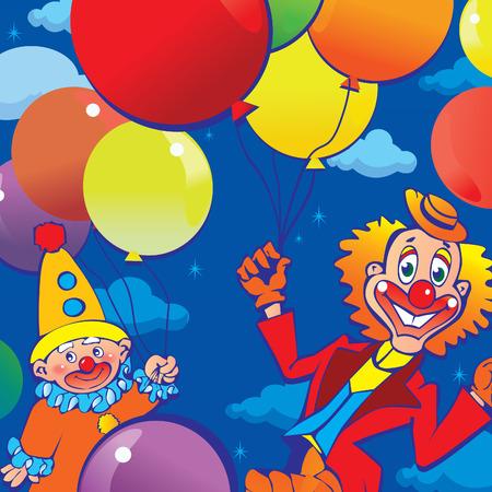 Funny clowns on a blue sky background. art-illustration. Vector