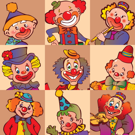 circus artist: Funny clowns.  art-illustration.