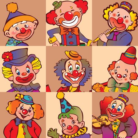 Funny clowns.  art-illustration. Vector