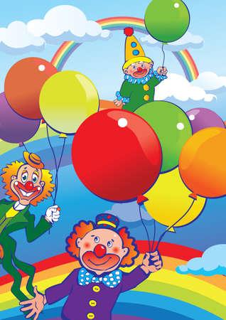 Clowns flying on balloons. Vector art-illustration. Vector