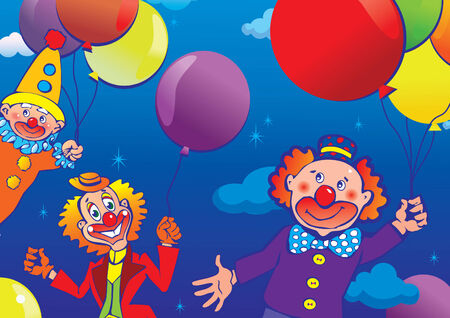 Clowns flying on balloons. Vector art-illustration. Vector