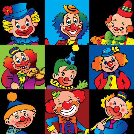 joker face: Funny clowns. Vector art-illustration.