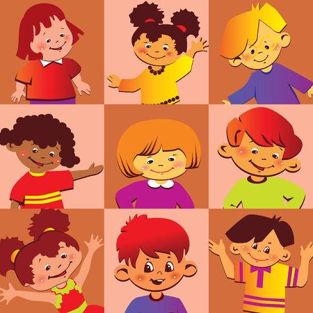 Portraits of the happy children of different nationalities.  Vector