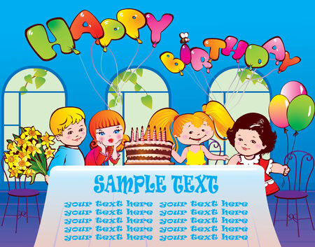 Happy birthday party. Good childhood. Place for your text.  Vector