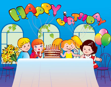 Happy birthday party. Good childhood. Place for your text.  Stock Vector - 8240019