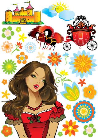 castillos de princesas: Princesa de colecci�n de hadas. arte-ilustraci�n sobre un fondo blanco.