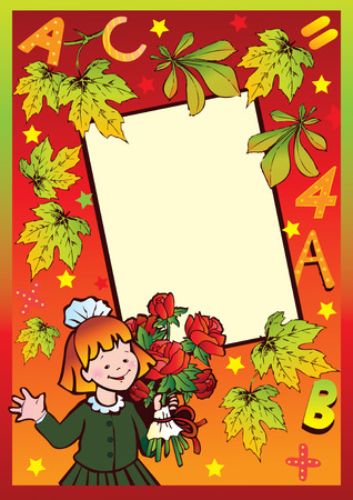 School childhood. Girl with flowers. Place for your text.  Vector