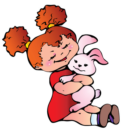 Little girl with bunny.  Stock Vector - 8240022