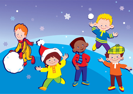Happy children of different nationalities play together at Christmas.   art-illustration. Vector