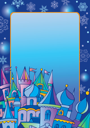 Christmas postcard with winter town.  art-illustration for Christmas and New Year. Place for your text. Vector
