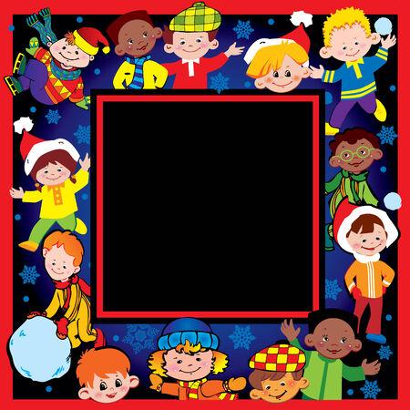 さまざまな国籍の幸せな子供は一緒に遊ぶ。クリスマスと新年のアート イラスト。あなたのテキストのための場所です。