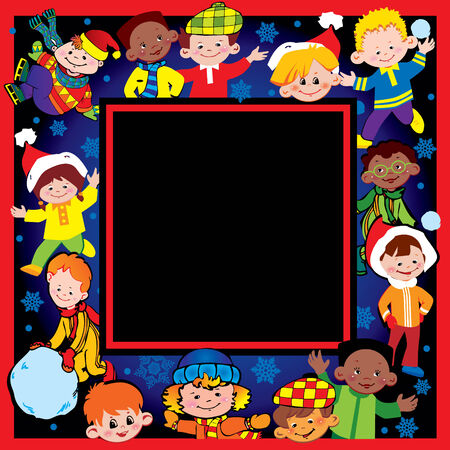 Happy children of different nationalities play together. art-illustration for Christmas and New Year. Place for your text.