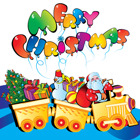 Santa Claus on a train with Christmas gifts. art-illustration for Christmas. Vector