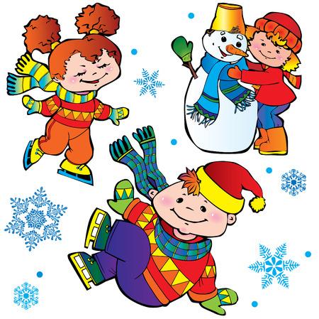 Eislaufen-Kinder. Glückliche Kindheit. Art-Illustration auf einem weißen Hintergrund.