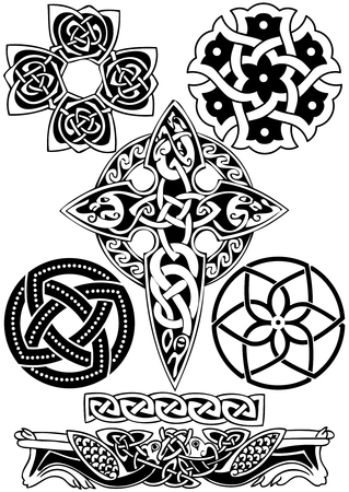 paganism: Celtic art-collection on a white background.