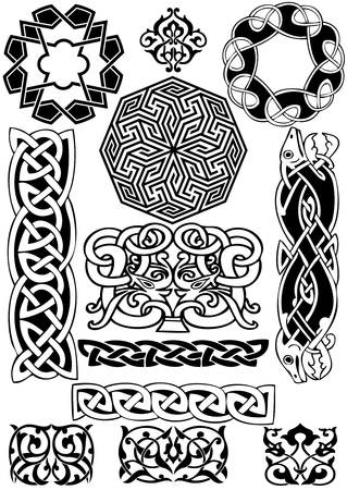 Celtic art-collection on a white background. Stock Vector - 8489340