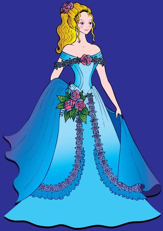 Mooie meid. Art-illustratie op een blauwe achtergrond.