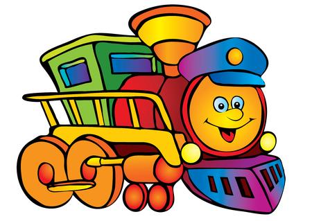railway track: Locomotief. Vector kunst-illustratie op een witte achtergrond. Stock Illustratie