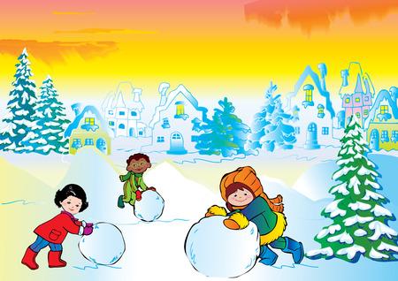 Winter story. Vector art-illustration. Happy childhood. Stock Vector - 8516022