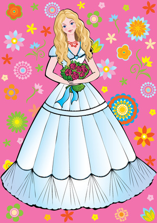 Beautiful girl with flowers. Vector art-illustration on a pink background. Vector