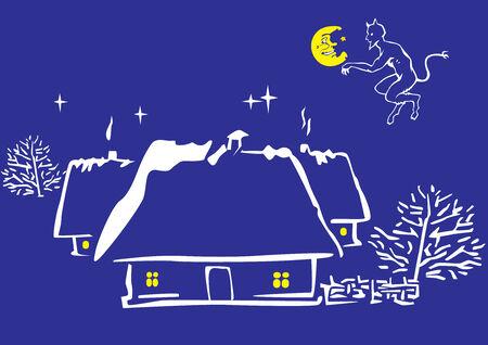 deuce: Magic night. art-illustration on a blue background.