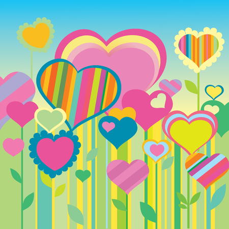 girl happy: Heart. Greeting card for Valentines Day. Place for your text. Vector art-illustration.