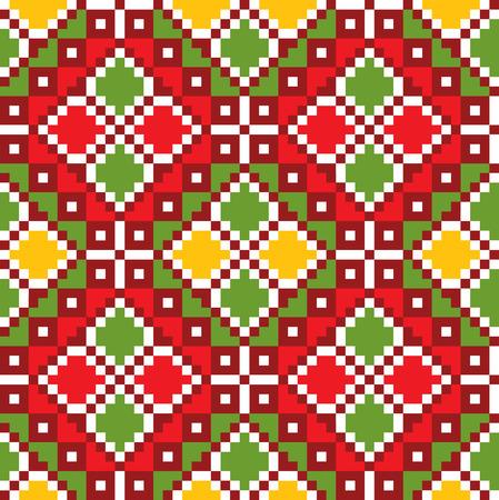 embroider: Seamless embroidered good like handmade cross-stitch ethnic Ukraine pattern. art-illustration.