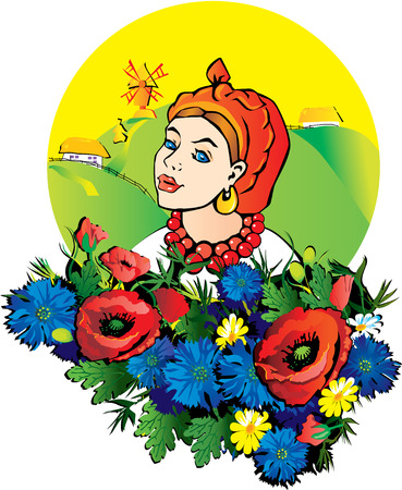 hillock: Hermosa ni�a en el traje nacional con flores. Vectores