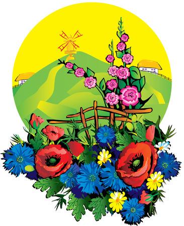 cornflowers: Summer landscape on a sunny day.  Illustration