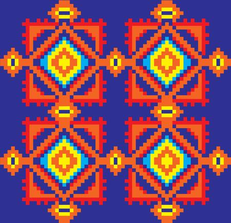 rushnik: Seamless embroidered good like handmade cross-stitch ethnic Ukraine pattern. Vector art-illustration.