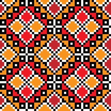 crisscross: Seamless embroidered good like handmade cross-stitch ethnic Ukraine pattern. Vector art-illustration.