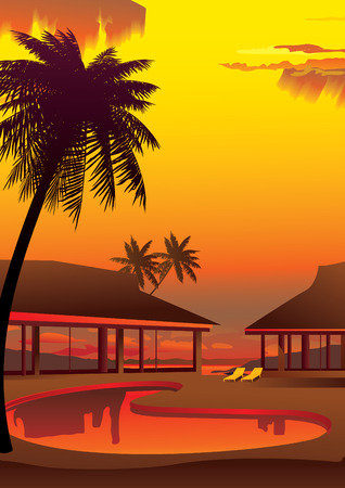 Relaxing tropical swimming pool. Vector art-illustration. Vector