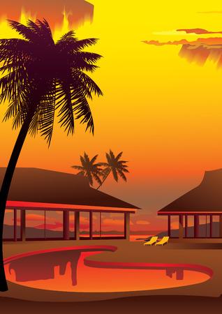 Relaxing tropical swimming pool. Vector art-illustration. Vector