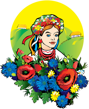 Beautiful girl in the national costume. Vector art-illustration on a landscape background. Vector
